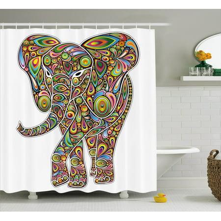 Savannah Trim Shower - Psychedelic Shower Curtain, Large Eastern Elephant Figure Trippy Pattern Boho Art Savannah Illustration, Fabric Bathroom Set with Hooks, Multicolor, by Ambesonne
