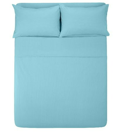 The Great American Store- 4PC Sheet Set (Twin XXL, Stripe Light Blue) 23 Inch Deep, 1800 Series Double Brushed Microfiber - Easy Care, Fade, Shrink and Wrinkle Resistant ()