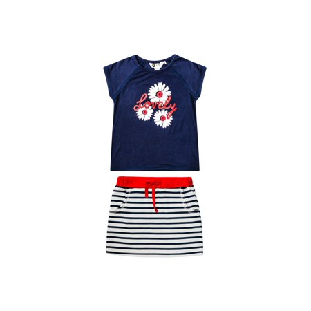 Foil Graphic Tee and French Terry Skirt, 2-Piece Outfit Set (Little Girls & Big Girls)](French Girl Outfits)