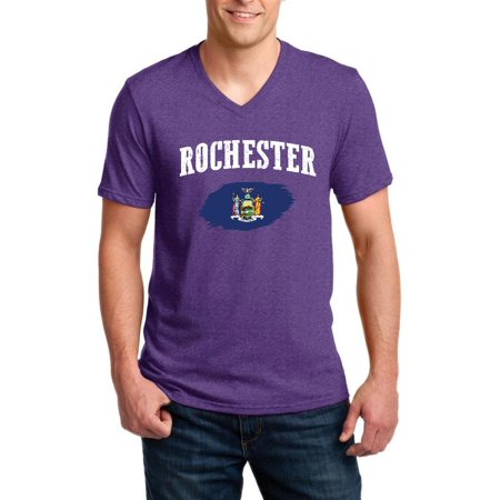 Rochester New York Men V-Neck Shirts Ringspun
