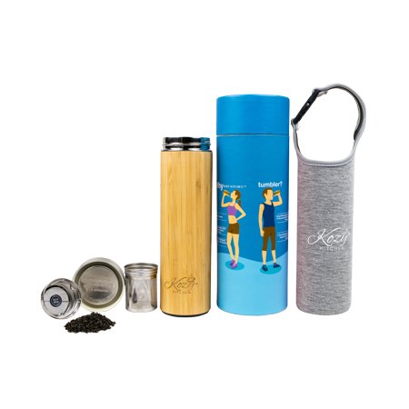 Organic Bamboo Tumbler with Tea Infuser & Strainer by Kozy Kitchen| 17oz Stainless Steel Water Bottle| Insulated BPA-Free Travel Mug With Mesh Filter for Brewing Loose Leaf |Gift For Tea Lovers