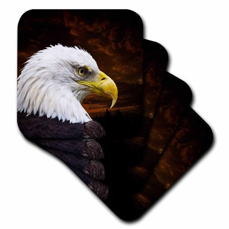 3dRose American Bald Eagle Art Home D?cor and Art, Soft Coasters, set of 8