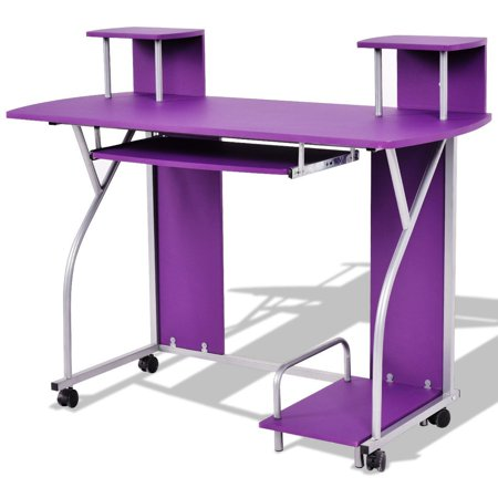 Rolling Computer Desk with Pull Out Tray - Purple ()