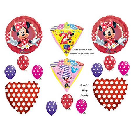 sECOND 2ND RED MINNIE MOUSE DIAMONDZ BIRTHDAY PARTY Balloons Decorations Supplies - Red Minnie Mouse Decorations