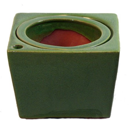 Square Port (Square Self Watering Ceramic Pot with Felt Feet - Green - 6