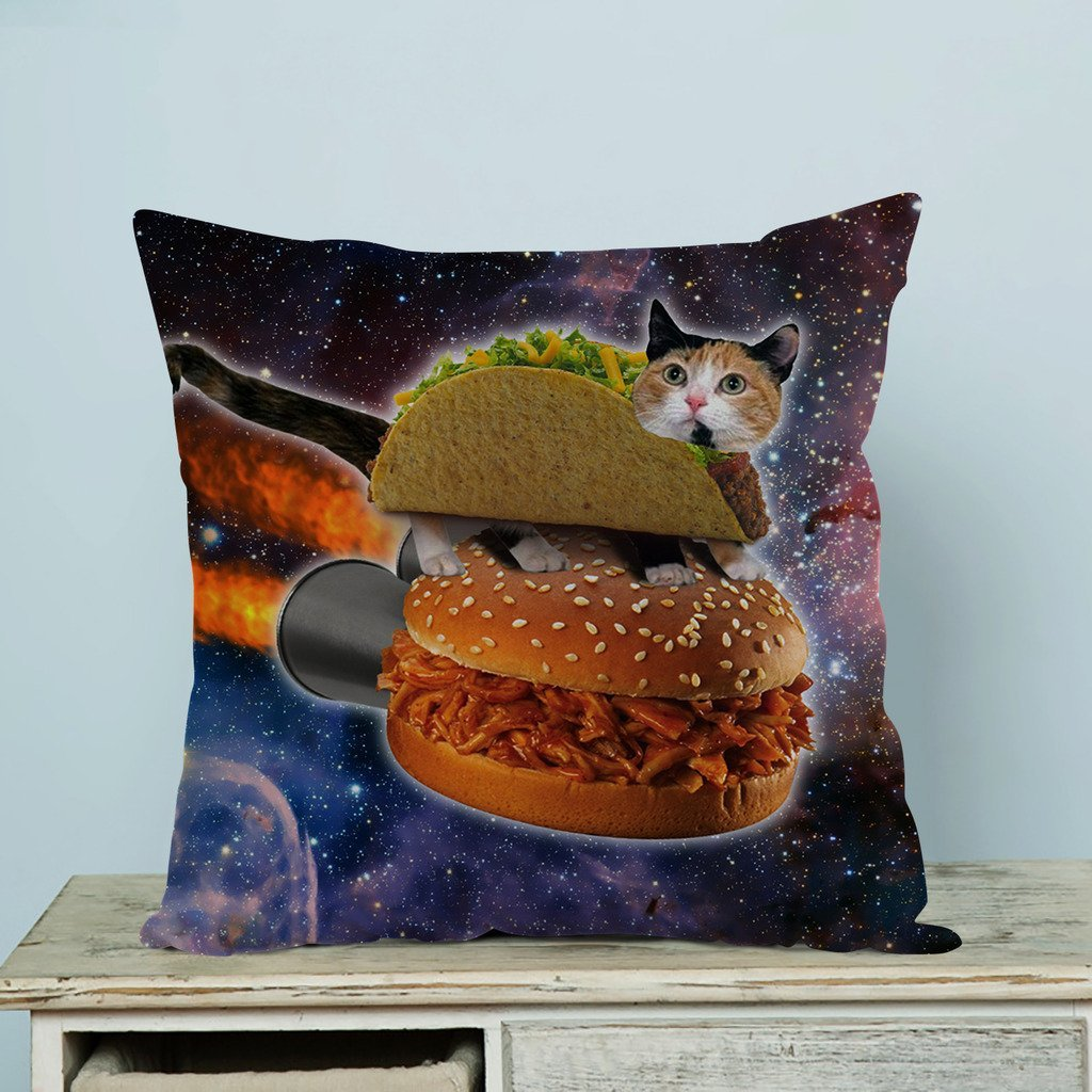 GCKG Hamburgers Space Cat Pillow Case Pillow Cover Pillow Protector Two Sides 20 x 20 Inches
