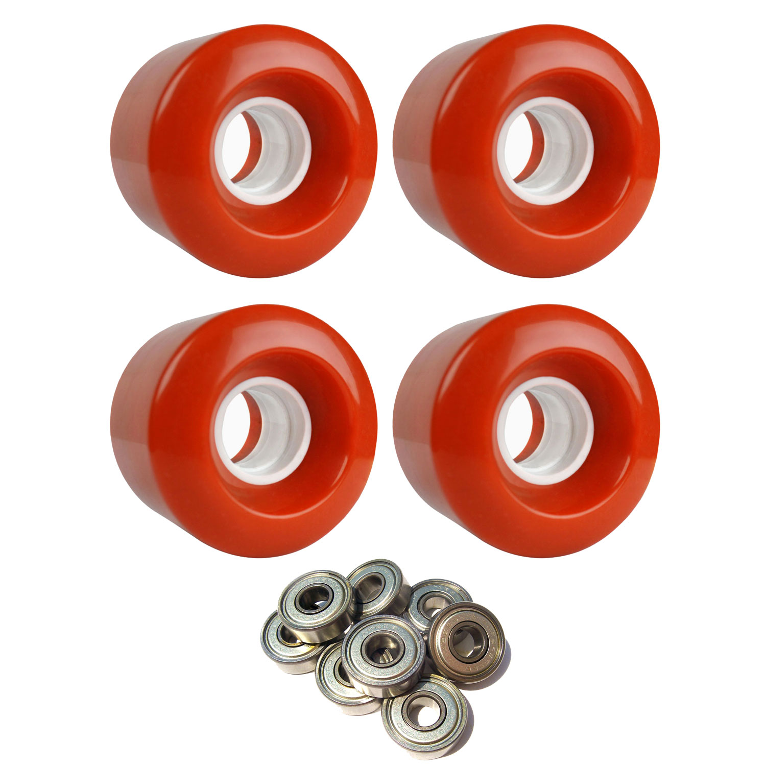 LONGBOARD CRUISER WHEELS 60mm x 47mm 83A 180C Orange ABEC 7 BEARINGS