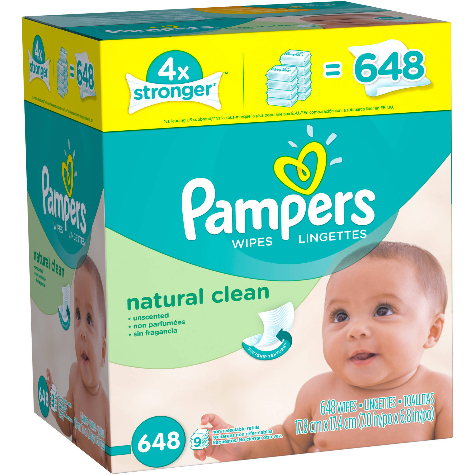 Pampers Natural Clean Baby Wipes Refills, 648 sheets