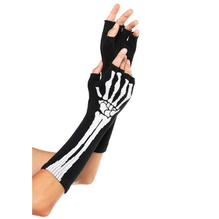 Women's Skeleton Fingerless Gloves, Black, One Size