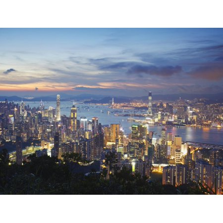 Hong Kong Island and Kowloon Skylines at Sunset, Hong Kong, China Print Wall Art By Ian Trower