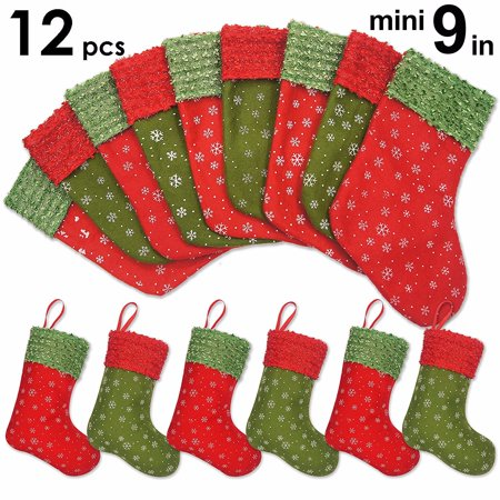 christmas snowflake socks decorations 12 pack 9 snowflake mini christmas stockings gift card bags