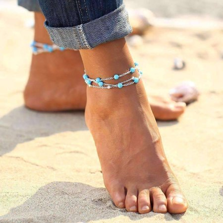 Multi-Layer Turquoise Bead Ankle Bracelet In Silver or Gold Ankle Bracelet Silver Gemstone