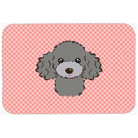 Checkerboard Pink Silver Gray Poodle Mouse Pad, Hot Pad Or Trivet, 7.75 x 9.25 In. - Gray Poodle