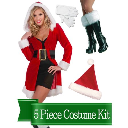 Sexy Enchanted Miss Santa Claus Womens Complete Costume Kit - Standard (Miss Santa Costume)