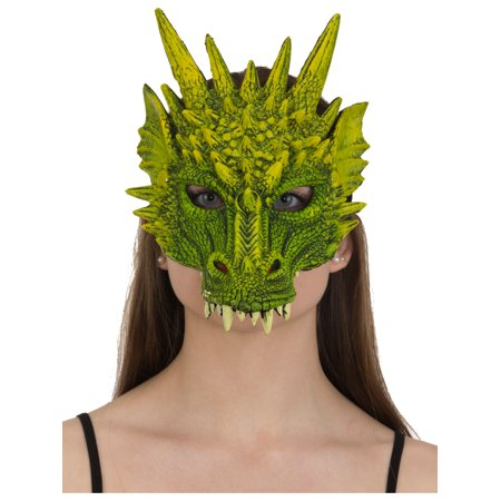 Green Rubber Dragon Mask Costume Accessory - Celebrity Rubber Masks