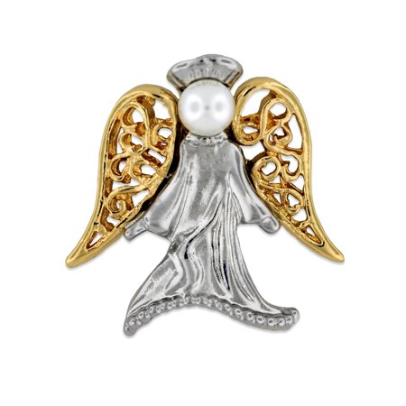 Angel with Pearl Religious Spiritual Jewelry Brooch Style Lapel Pin