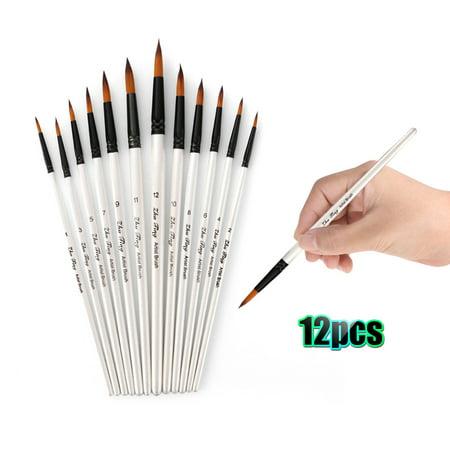 Professional Paintbrushes Set Nylon Hair Paint Brush Fine Detail Watercolor Oil Acrylic Paint Pack of 12pcs Art Painting Supplies](Watercolor Painting Supplies)