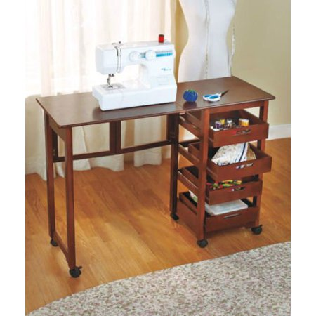 New Table Sewing Machine Craft Storage Shelves Drop Leaf Sauder Custom New Leaf Sewing Machine