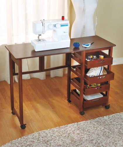New Table Sewing Machine Craft Storage Shelves Drop Leaf Sauder Cabinets  Singer Computer Fold Away Desk