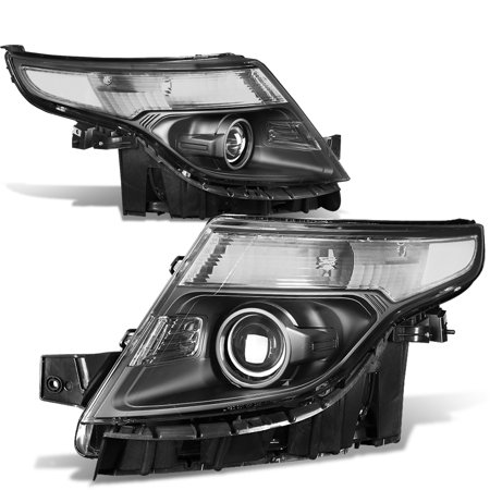 For 2011 to 2015 Ford Explorer Pair of Projector Headlight Black Housing Clear Corner 5th gen U502 12 13 14 Left+Right - Ford Explorer Projector Headlights