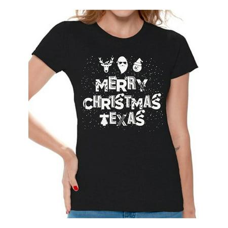 Awkward Styles Merry Christmas Texas Shirt Women's Holiday Top Texas Shirt Christmas Shirts for Women Merry Christmas Gift Texas Love T Shirt Funny Tacky Xmas Party Holiday Shirts Texan Xmas Outfit (Tacky Outfit Ideas)