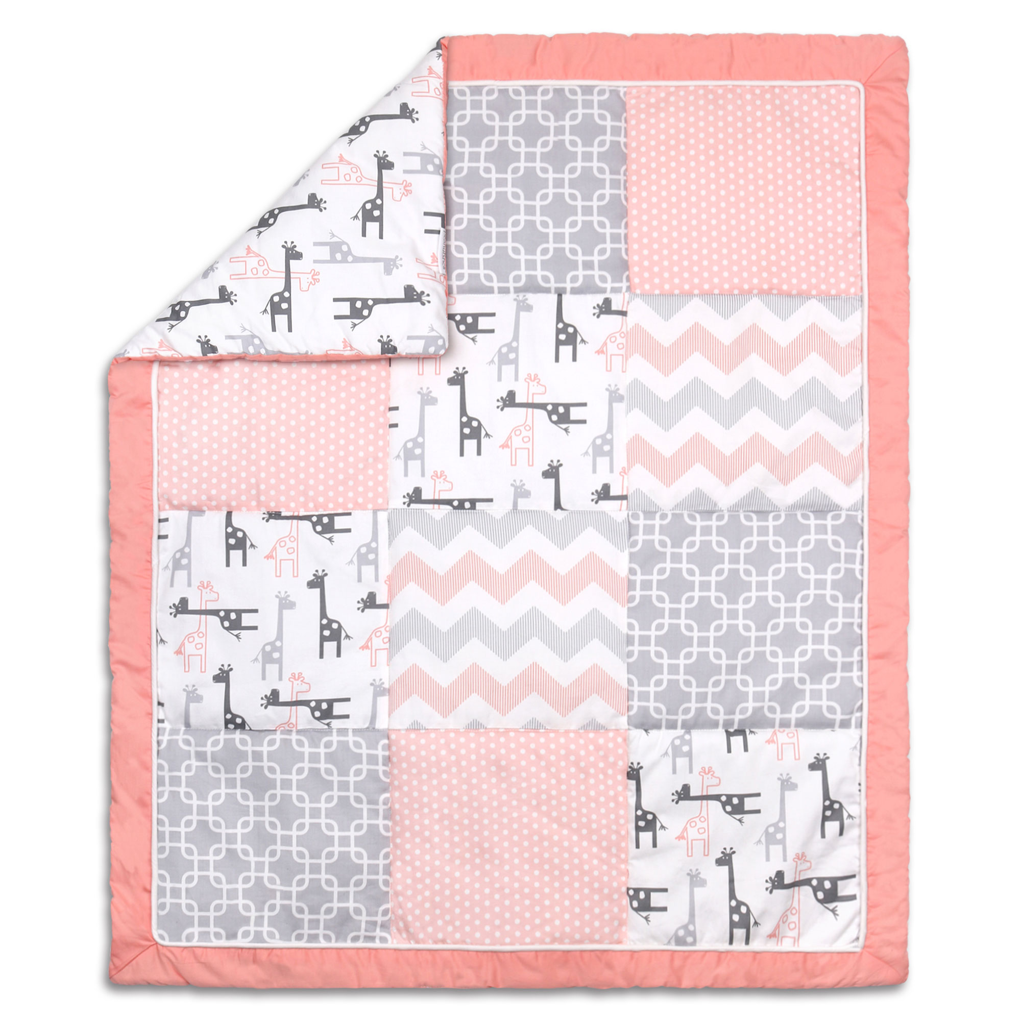 The Peanut Shell Baby Girl Crib Quilt Uptown Girl Coral and Grey Giraffe and Geometric Patchwork 100% Cotton... by The Peanut Shell