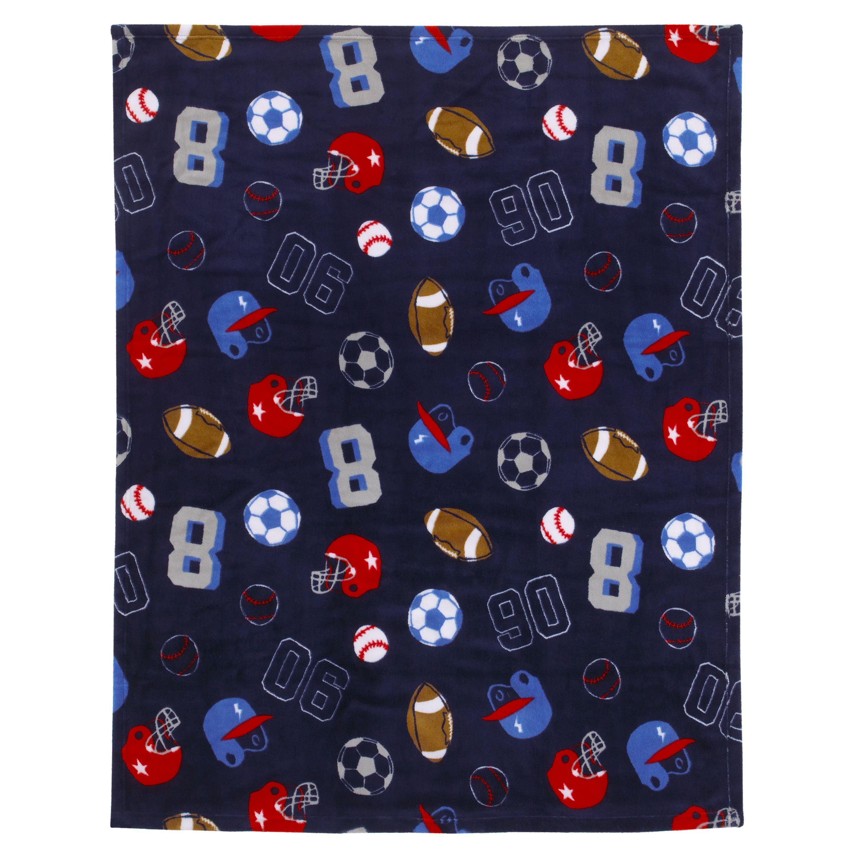 "Kids Boys Soft /& Cozy Blanket Toddler 40 x 50/"" Animal Sports Blue Games Balls."