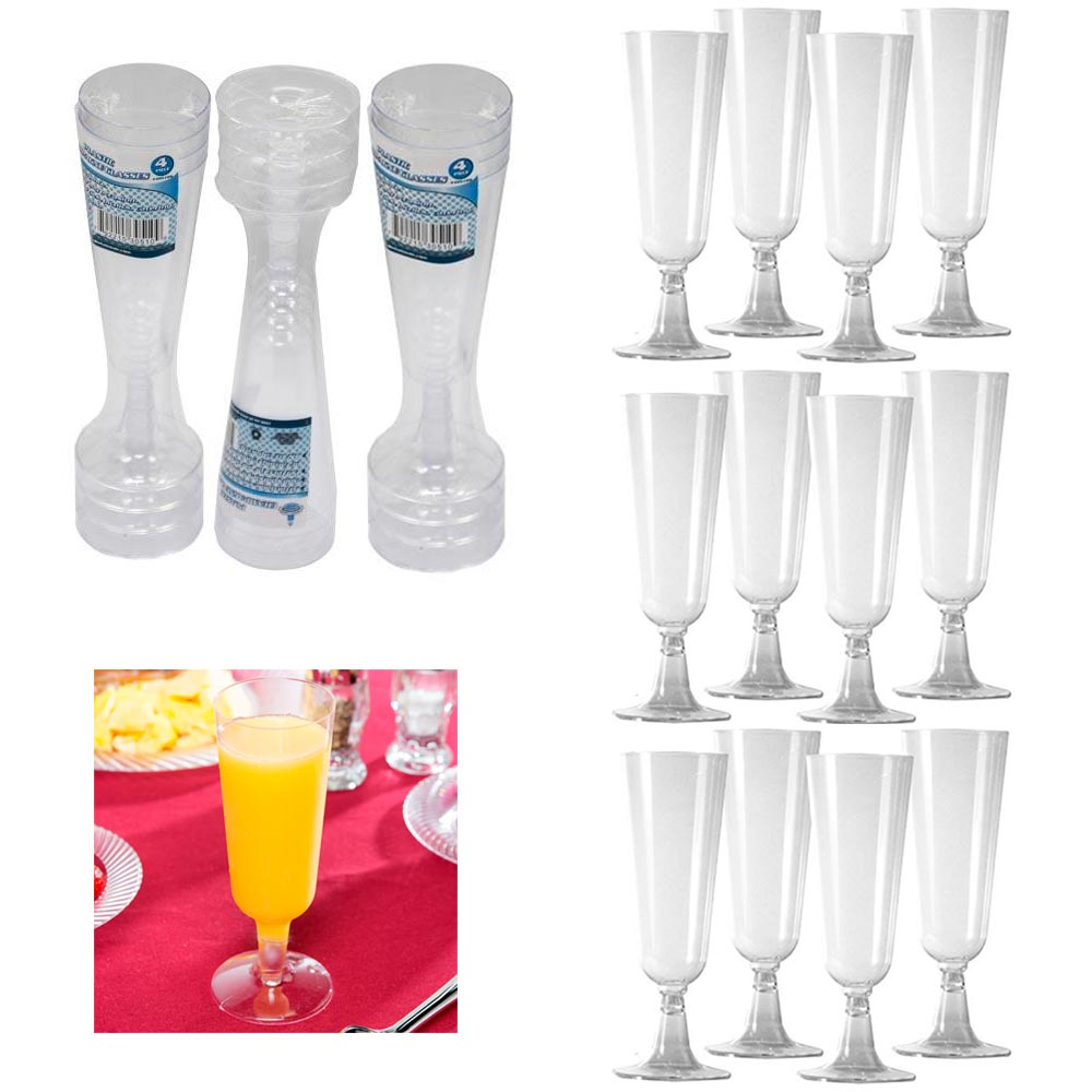12 Disposable Plastic Champagne Flutes Wine Glasses Clear 4.7 Oz Wedding Party