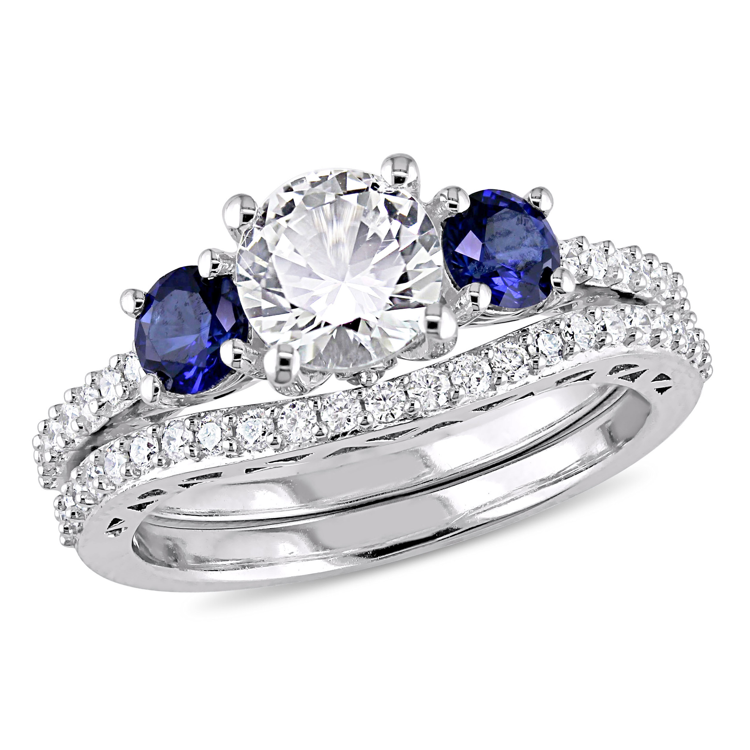 Tangelo 2 Carat T.G.W. Created White and Blue Sapphire with 1 3 Carat T.W. Diamond 10kt White Gold Bridal Set by