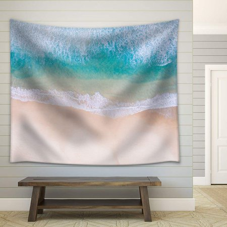 wall26 - Tropical Beach White Sand Clear Waves - Fabric Wall Tapestry Home Decor - 51x60 inches