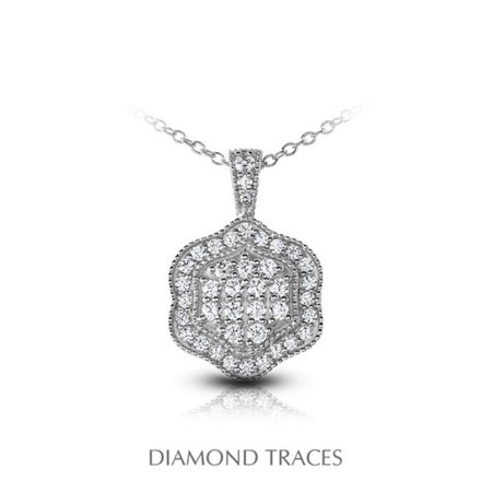 1.31 Carat Total Natural Diamonds 18K White Gold Pave Setting Flower Shape With Milgrain Fashion Pendant - image 1 of 1