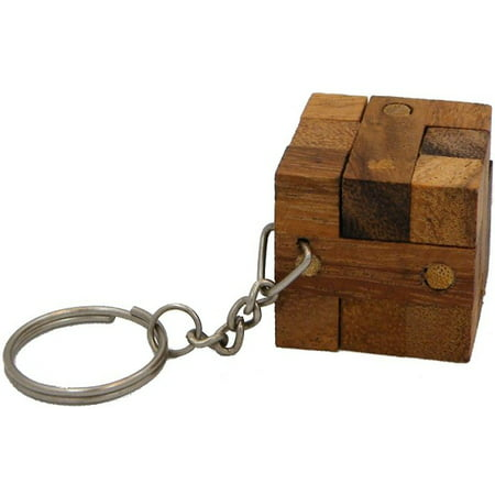Cubase Key (Cube Lock Key Chain - Wooden Puzzle Brainteaser )