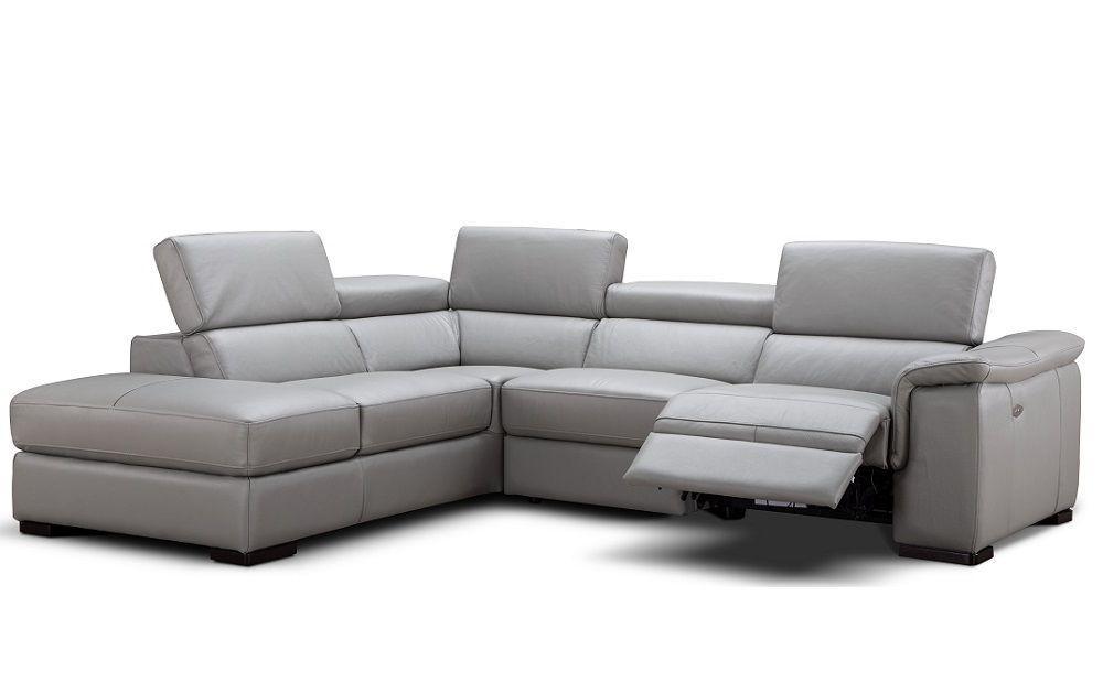 J&M Perla Modern Grey Premium Italian Leather Sectional Sofa Left Hand  Facing
