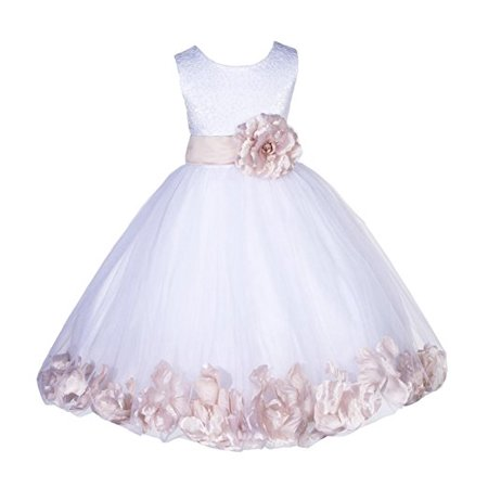 Ekidsbridal White Lace Top Tulle Bodice Floral Petals Flower Girl Dress First Communion Dress Holy Baptism Dress Easter Summer Dresses Pageant Gown Holiday Dresses Daily Dress Birthday Girl Dress 165S](Girls First Holy Communion Dresses)