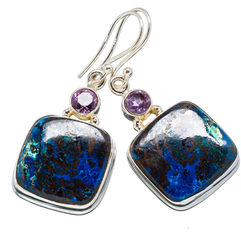 """Ana Silver Co Shattuckite, Amethyst 925 Sterling Silver Earrings 1 5/8"""" - Handmade Fashion Gemstone Jewelry EARR352479"""