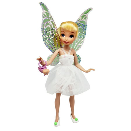 Disney's Tinker Bell Arrival Tink White Dress Kids Toy Figure (8in)