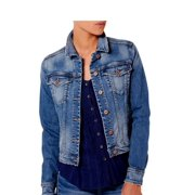 Silver Jeans Denim Jacket Womens Button Medium Wash LJ0012SJL253