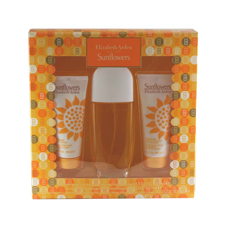Sunflowers 3 Pc. Gift Set ( Eau De Toilette Spray 3.3 Oz + Body Lotion 3.3 Oz + Hydrating Cream Cleanser 3.3 Oz For The Body)