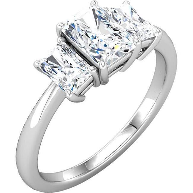 Harry Chad Enterprises HC11265-6 2.11 CT Emerald Diamonds Three Stone Anniversary Ring - 14K White Gold - Size 6 - image 1 de 1