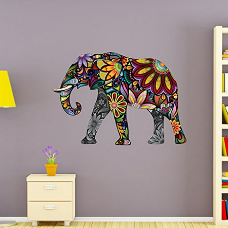 (Flower Elephant Wall Decal - Wall Sticker, Vinyl Wall Art, Home Decor, Wall Mural - SD3038 - 16x11)