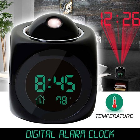 Dilwe Multi-function Alarm Clock Digital LCD Voice Talking Function with Talking Projection Time Temp Display Alarm Clock,LED Wall/Ceiling Projection,Bedside Alarm Clock