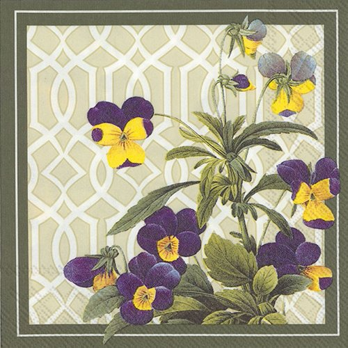4 PACKS PAPER COCKTAIL NAPKINS TRELLIS PANSY 4 Packs Paper Cocktail Napkins Trellis Pansy by Generic