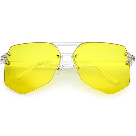 95d4b4d71e sunglass.la - Oversize Rimless Aviator Sunglasses Transparent Arms Color  Tinted Flat Lens 63mm (Dark Yellow) - Walmart.com