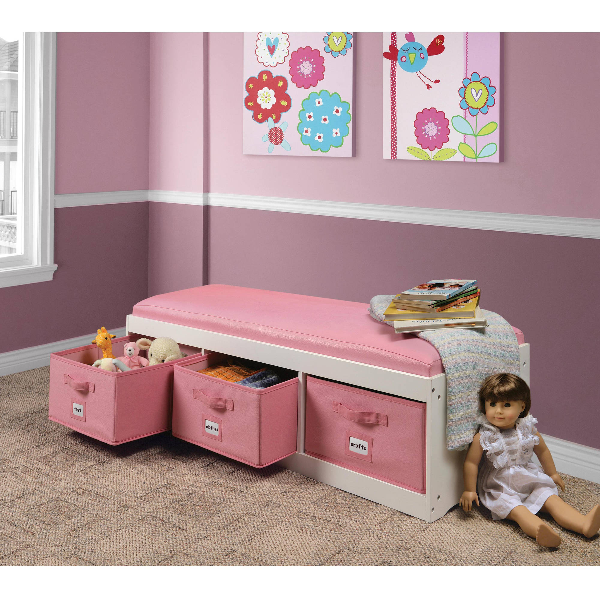 badger basket kids storage bench with cushion and 3 bins whitepink walmartcom - Kids Room Storage Bench