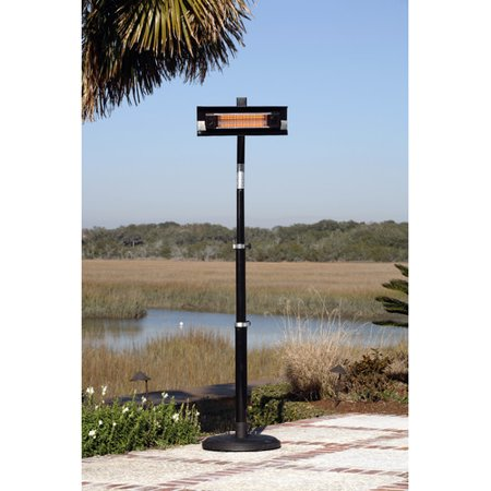 Black Mounting Pole - Fire Sense Black Powder-Coated Steel Telescoping Offset Pole Mounted Infrared Patio Heater