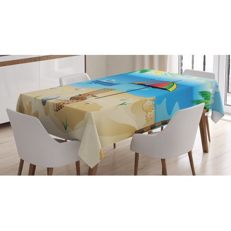 Rainbow Beach Umbrella - Beach Tablecloth, Colorful Cartoon Style Coast Pattern Boat Rainbow Umbrella Open Skyline Palm Tree, Rectangular Table Cover for Dining Room Kitchen, 52 X 70 Inches, Multicolor, by Ambesonne