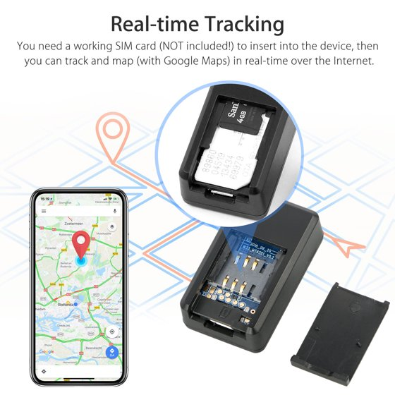 Tracking Device, Mini Car GPS Tracker Real Time Tracking Locator Free  Installation for Vehicles No Monthly Fee,Dogs,Keys,Cars,  Kids,Persons,Travel,Key
