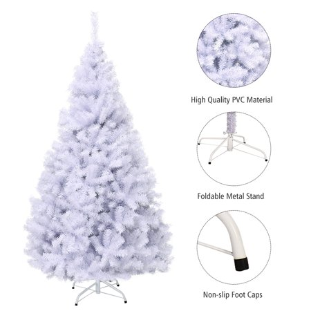 Topbuy 7.5ft White Christmas Pine Tree Hinged Artificial Decoration w/ 1346 Tips & Metal Stand ()