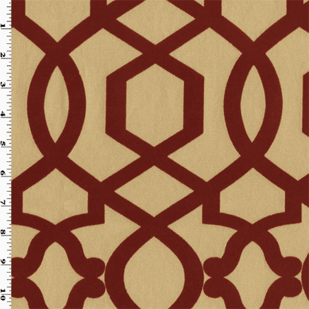 Red/Beige Sultana Lattice Velvet Flock Decorating Fabric, Fabric By the Yard