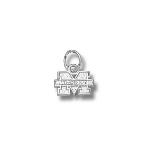 NCAA - Michigan Wolverines Sterling Silver ''M MICHIGAN'' 1/4'' Pendant